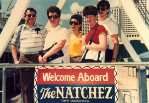 "And the obligatory ""family posing by the sign"" shot. Apparently, I wasn't very patient back in those days, either."